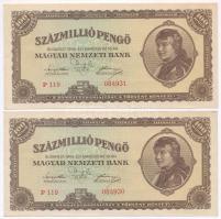 1946. 100.000.000 Pengő (2x) sequential serials, 1946. 100.000.000P (2x) egymás utáni sorszámmal