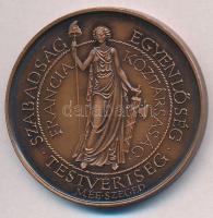 """Fritz Mihály (1947-) 1989. """"MÉE Szeged / Francia Forradalom 1789"""" Br emlékérem (42,5mm) Mihály Fritz (1947-) 1989. """"Hungarian Numismatic Collectors Society Szeged / French Revolution 1789"""" Br medal (42,5mm)"""