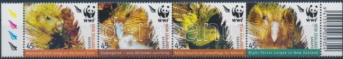 WWF birds margin stripe of 4, WWF madarak ívszéli négyescsík, Weltweiter Naturschutz, Vögel Satz Viererstreifen mit Rand