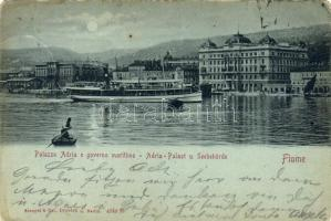 1899 Fiume, Palazzo Adria, Governo Maritimo / Adria palace, Government, steamship