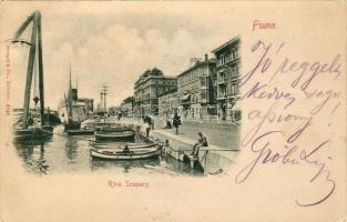 1899 Fiume, Riva Szapary / port, steamship, boats