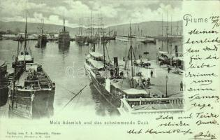 Fiume, Molo Adamich, Schwimmende Dock / port, floating wharf, steamships