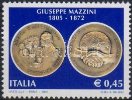 200th anniversary of birth of Giuseppe Mazzini margin stamp, Giuseppe Mazzini születésének 200. évfordulója ívszéli bélyeg, 200. Geburtstag von Giuseppe Mazzini Marke mit Rand