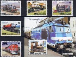 Locomotives set + block, Mozdonyok sor + blokk, Lokomotiven Satz + Block