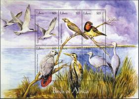 Birds of Africa mini sheet, Afrika madarai kisív, Vögel von Afrika Kleinbogen