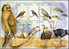Birds of Africa miniature sheet, Afrika madarai kisív, Vögel von Afrika Kleinbogen