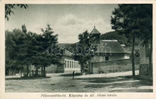 Pilisszentlászló, Kápolna, Állami elemi iskola, hátoldalon Ex Leo Libris ragasztás