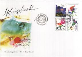 Greeting stamps set in block of 4 on FDC, Üdvözlőbélyegek sor négyestömbben FDC-n, Gruámarken FDC