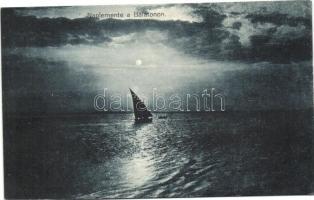 Balaton, naplemente, vitorlás hajó