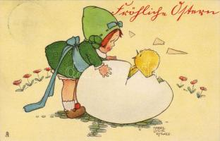 Easter, little girl woth egg, Raphael Tuck & Sons Oster Serie No. 843. s: Mabel Lucie Attwell, Húsvét, kislány tojással, Raphael Tuck & Sons Oster Serie No. 843. s: Mabel Lucie Attwell