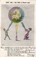 'Der Welt a Haxen' map, humour, artist signed, Térkép, humour, szignózott