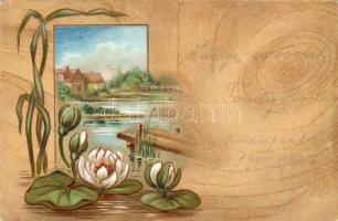 Flowers with a house litho, Virágok házikóval litho