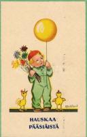Easter, little boy with chickens s: K. Frykstrand, Húsvét, kisfiú, csibék s: K. Frykstrand