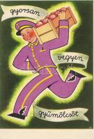 Hungarian propaganda, fruits, Vitamin C table on the backside, 'Gyorsan vegyen gyümölcsöt' propaganda, C vitamin táblázat a hátoldalon