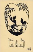 Trumpeter silhouette, rooster, duck s: P. Schrempel, Trombitás sziluett, kakas, kacsa s: P. Schrempel