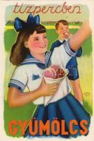 Fruit and Vitamin C propaganda, table on the backside, C vitamin a gyümölcs, propaganda, C vitamin táblázat a hátoldalon