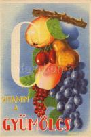 Vitamin C in the fruits, propaganda, Vitamin C table on the backside s: Garamvölgyi K., C vitamin a gyümölcs, propaganda, C vitamin táblázat a hátoldalon s: Garamvölgyi K.