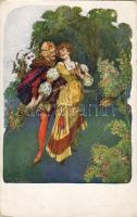 Romantic couple from Middle Ages, B.K.W.I. 559-5. s: F. Welzl, Középkori romantikus pár, B.K.W.I. 559-5. s: F. Welzl