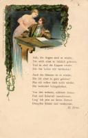 Heinrich Heine verse, illusztráció litho s: G. Graf, Heinrich Heine poem, illustration litho s: G. Graf