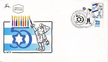 50th anniversary of Israel stamp with tab on FDC, 50 éves Izrael tabos bélyeg FDC-n, 50 Jahre Israel FDC