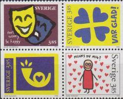 Greeting stamps block of 4, Üdvözlőbélyegek négyestömb, Grußmarken Viererblock