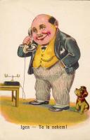 Man with telephone, dog, humour, Telefonáló férfi, kutya, humor