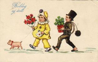 New Year, clown, chimney sweeper, pig, clover litho, Újév, bohóc, kéményseprő, malac, lóhere litho