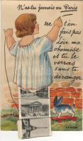 Paris leporellocard with little girl litho