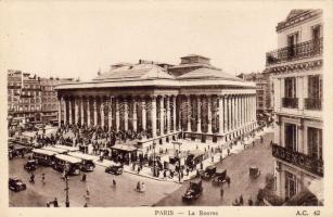 Paris, La Bourse / Paris stock exchange, tram, automobile