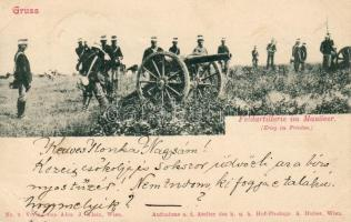 Feldartillerie im Manöver / Field artillery in maneuver, cannon, Tábori tüzérség mozgásban, ágyú