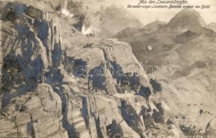 Aus den Lowcenkämpfen, Ein K.u.K. Landsturm-Bataillon ersteigt den Bjelos / Bjelos, K.u.K. military battalion climbs up on the Bjelos mountain