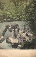 Love couple falling into the lake, humour Tóba eső szerelmespár, humor