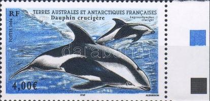 Delphin Marke mit Rand, Delfin ívszéli bélyeg, Dolphins margin stamp