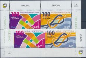Europa CEPT Scout corner pair + block, Europa CEPT Cserkész ívsarki pár + blokk, Europa CEPT Pfadfinder Paar mit Rand + Block