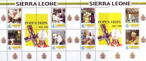 Trip of pope John Paul II in years 2003-2004 mini sheet set, II. János Pál pápa 2003-2004 évi utazásai kisívsor, Reisen von Papst Johannes Paul II. in Jahre 2003-2004 Kleinbogen
