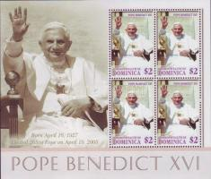 Pope Benedict XVI mini sheet, XVI. Benedek pápa kisív, Papst Benedikt XVI. Kleinbogen