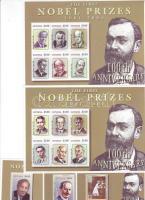 Winners of Nobel-prize mini sheet set + 3 blocks, Nobel-díjasok kisívsor + 3 blokk, Nobelpreisträger Kleinbogensatz + 3 Blöcke