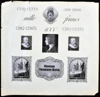 Horváth Endre (1896-1954) megvalósulatlan bankjegy tervezeteinek rézmetszete (31x30,5cm) Endre Horváth's copperplate of unissued banknote designs (31x30,5cm)