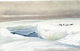 Greenland Ice cap, fog bank, Crevasse, Raphael Tuck & Sons Oilette 7484. s: Operti