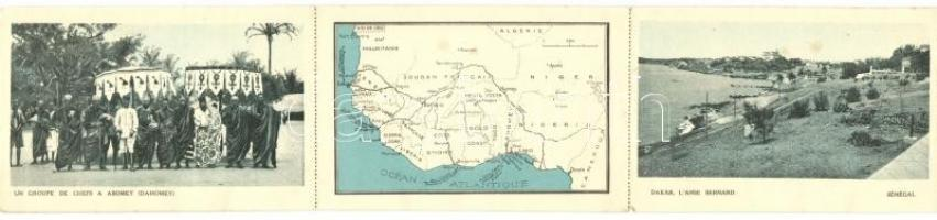 Abomey, group of the leaders; map; Dakar, leporello