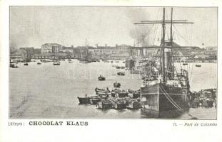 Colombo, port, steamship, Chocolat Klaus advertisement