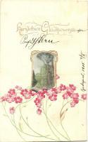 Greeting card, floral, Raphael Tuck & Sons Nr. 524B Emb. litho, Üdvözlőlap, virágok, Raphael Tuck & Sons Nr. 524B Emb. litho