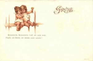 Children, greeting card, Serie VI. litho, Gyerekek, üdvözlő lap, Serie VI. litho
