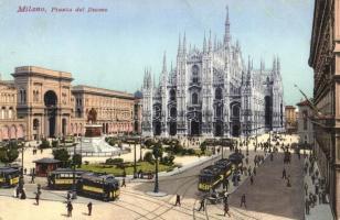 Milan, Milano; Piazza del Duomo / dome square, trams