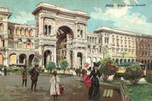 Milan, Milano; Galleria Vittorio Emanuele, litho