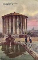 Rome, Roma; Tempio di Vesta, Fontana / temple, fountain; Serravallo Vino di China advertisement, artist signed