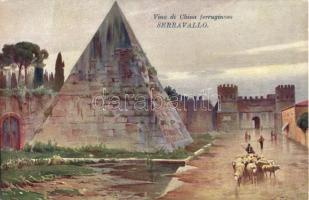 Rome, Roma; Piramide di Caio Cestio / pyramid; Serravallo Vino di China advertisement, artist signed