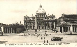 Rome, Roma; S. Pietro church, square, fountain, tram