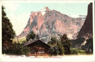 Grindelwald, Chalet und Wetterhorn