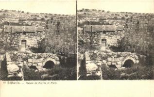 Bethany, Béthanie; Maison de Marthe et Marie, stereo postcard